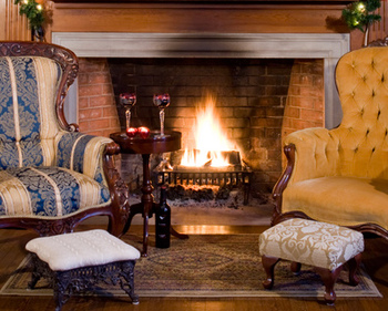 Enjoy an after dinner drink by the fire!