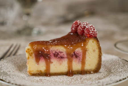 A Slice of White Chocolate Raspberry Cheesecake!