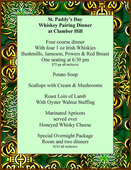 The 2012 St. Patrick's Day Menu at Clamber Hill